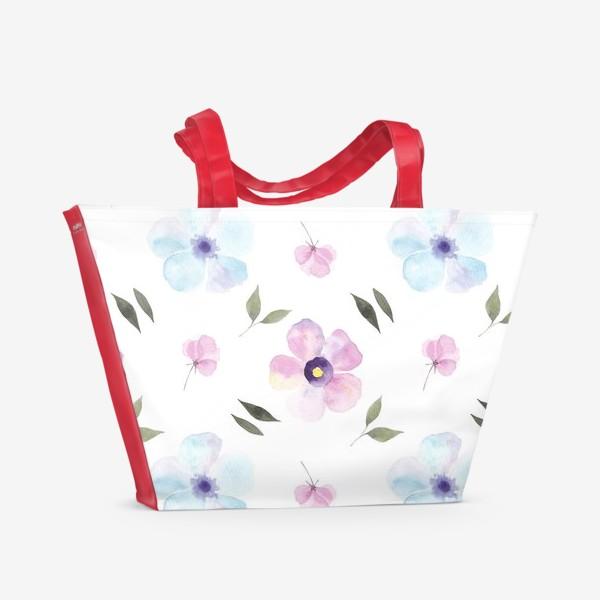 Пляжная сумка «Орнамент из голубых и фиолетовых цветов»