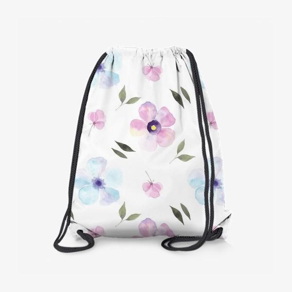 Рюкзак «Орнамент из голубых и фиолетовых цветов»