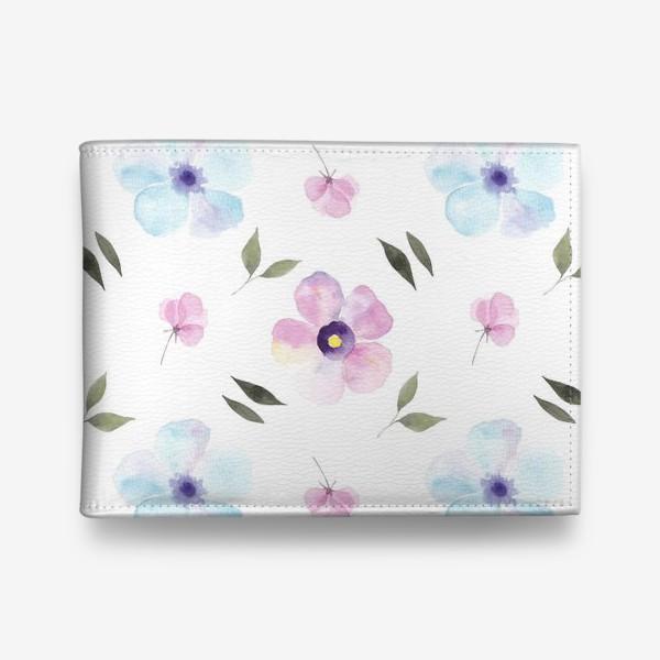 Кошелек «Орнамент из голубых и фиолетовых цветов»