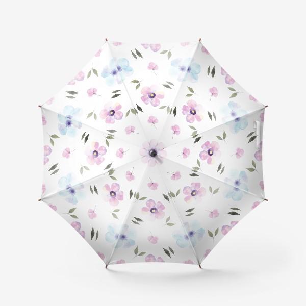 Зонт «Орнамент из голубых и фиолетовых цветов»