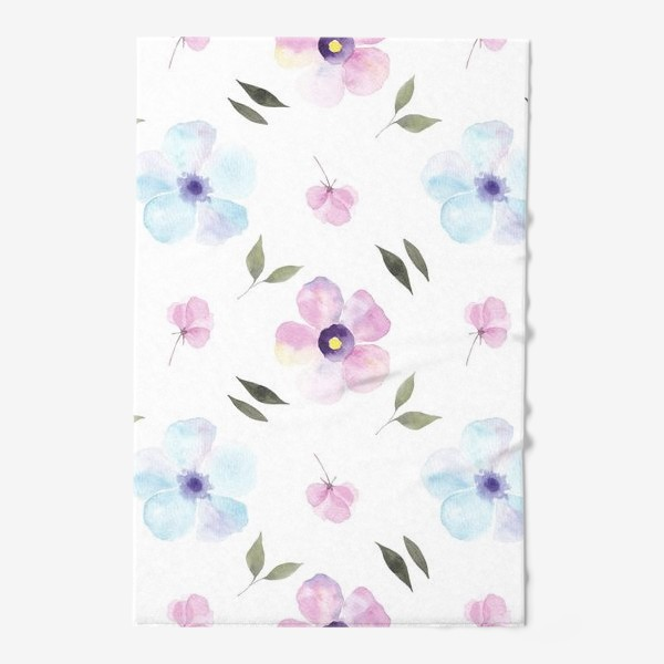 Полотенце «Орнамент из голубых и фиолетовых цветов»