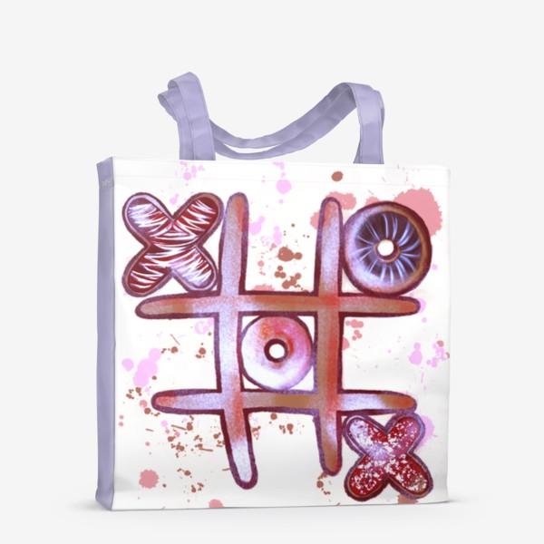 Сумка-шоппер «Крестики - Нолики. Съедобные открытки. 14 февраля. День всех влюблённых.»