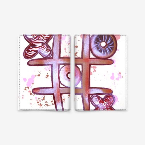 Обложка для паспорта «Крестики - Нолики. Съедобные открытки. 14 февраля. День всех влюблённых.»