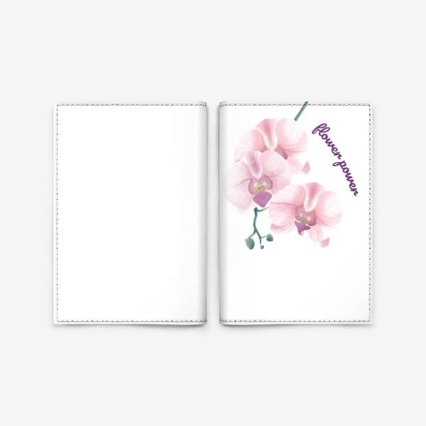 Обложка для паспорта «розовая орхидея»