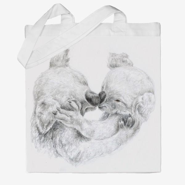 Сумка хб «пара целующихся коала»