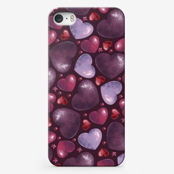 Чехол iPhone «паттерн сердца на темном фоне»