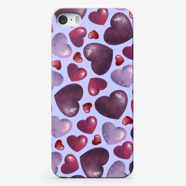 Чехол iPhone «паттерн сердца на сиреневом фоне»