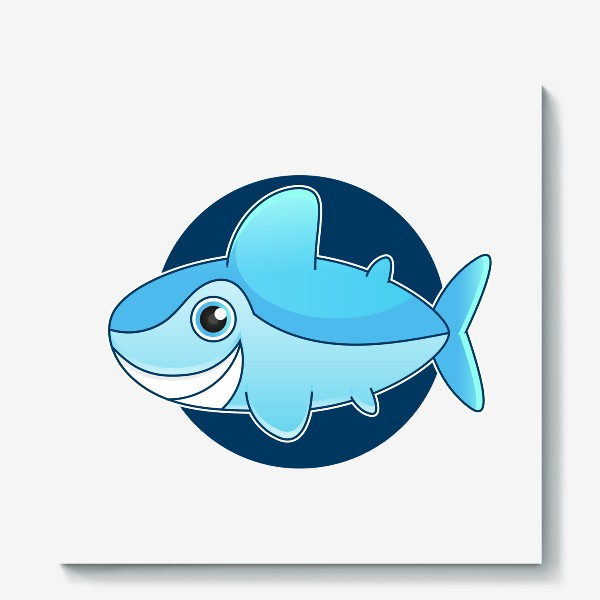 Холст «Vector illustration of shark »