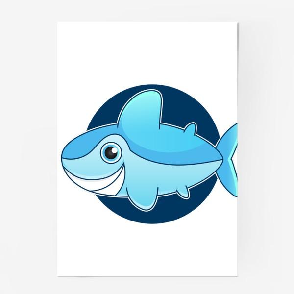 Постер «Vector illustration of shark »