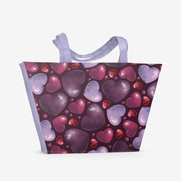 Пляжная сумка «паттерн сердца на темном фоне»