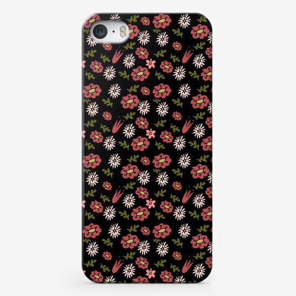 Чехол iPhone «Паттерн садовые цветы»