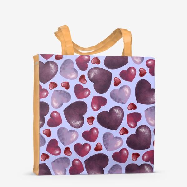 Сумка-шоппер «паттерн сердца на сиреневом фоне»
