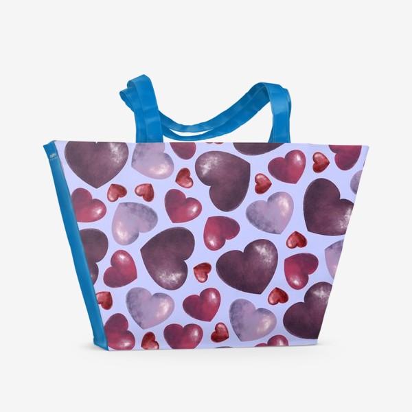 Пляжная сумка «паттерн сердца на сиреневом фоне»