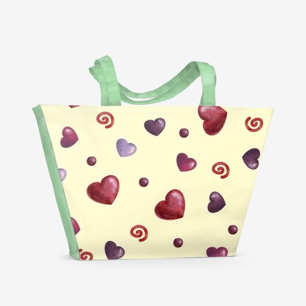 Пляжная сумка «паттерн сердечки»