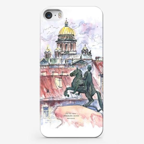 Чехол iPhone «Исаакиевский собор и Медный всадник, Санкт-Петербург. Акварельный скетч»