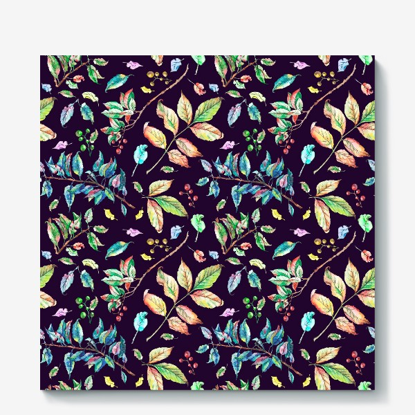Холст «Акварельные осенние листья 3»