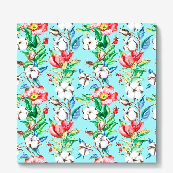 Холст «Акварельные цветы и ягод и шиповника и хлопок»