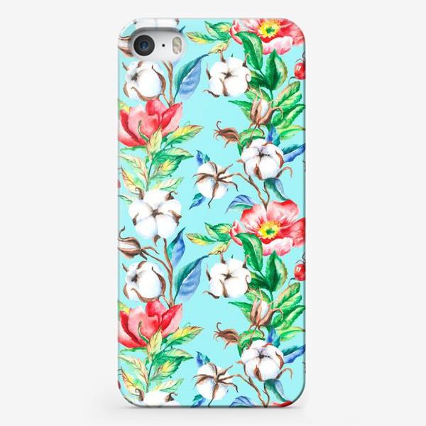 Чехол iPhone «Акварельные цветы и ягод и шиповника и хлопок»