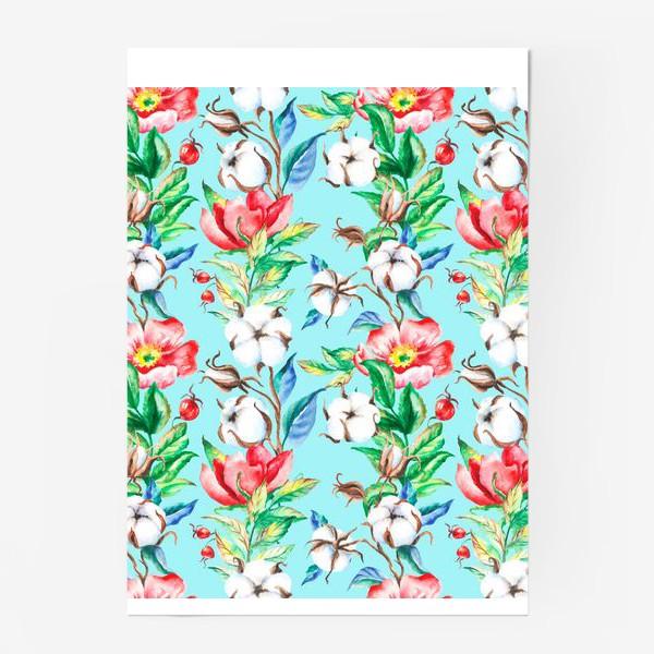 Постер «Акварельные цветы и ягод и шиповника и хлопок»