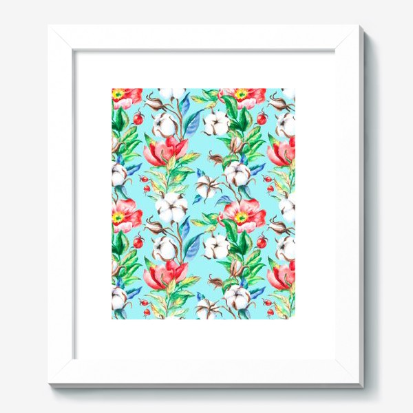 Картина «Акварельные цветы и ягод и шиповника и хлопок»