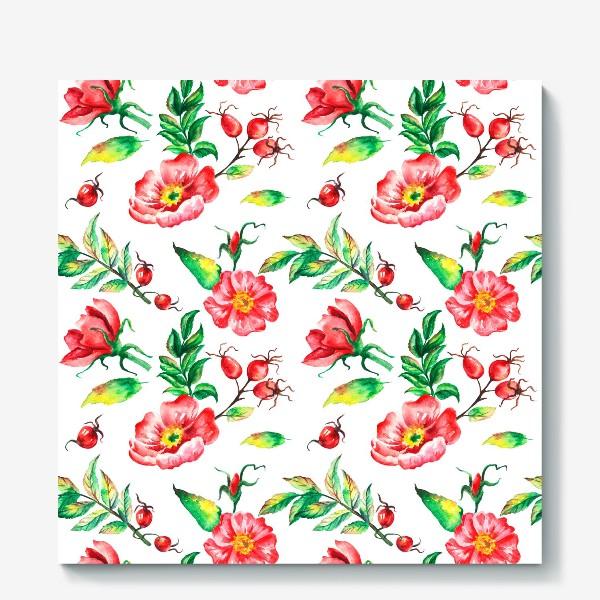 Холст «Акварельные цветы и ягод и шиповника»