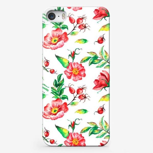 Чехол iPhone «Акварельные цветы и ягод и шиповника»