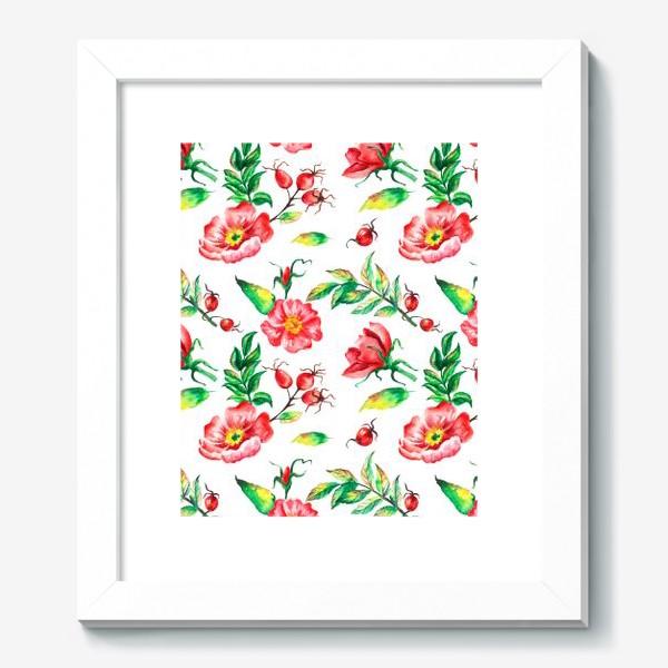 Картина «Акварельные цветы и ягод и шиповника»