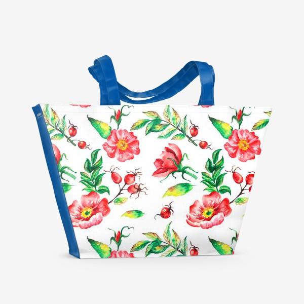 Пляжная сумка «Акварельные цветы и ягод и шиповника»