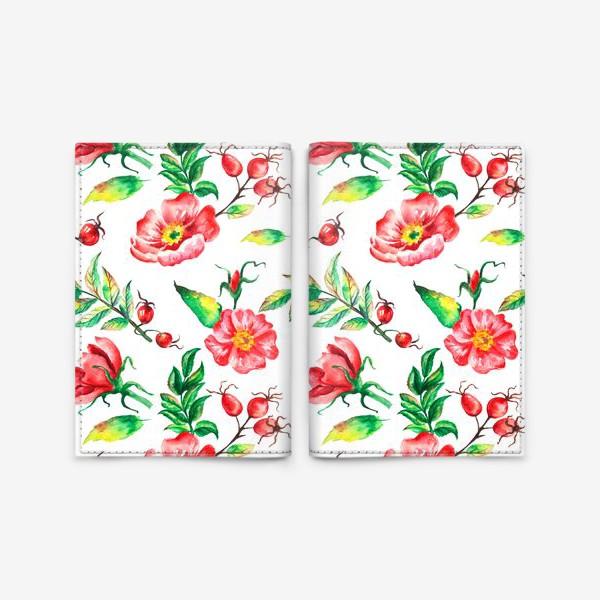 Обложка для паспорта «Акварельные цветы и ягод и шиповника»
