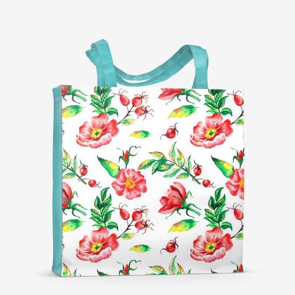 Сумка-шоппер «Акварельные цветы и ягод и шиповника»