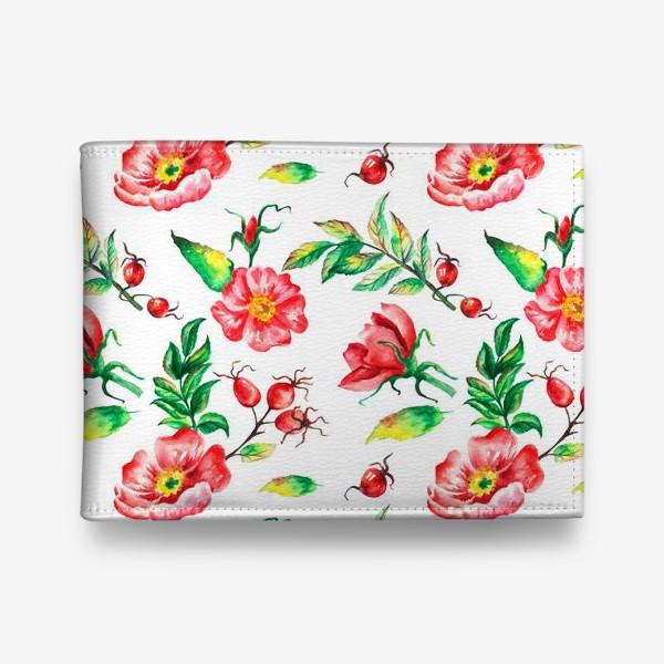 Кошелек «Акварельные цветы и ягод и шиповника»