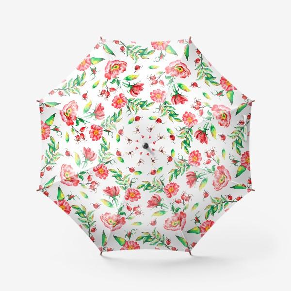 Зонт «Акварельные цветы и ягод и шиповника»