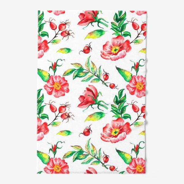 Полотенце «Акварельные цветы и ягод и шиповника»