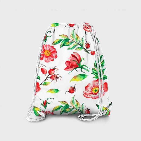 Рюкзак «Акварельные цветы и ягод и шиповника»