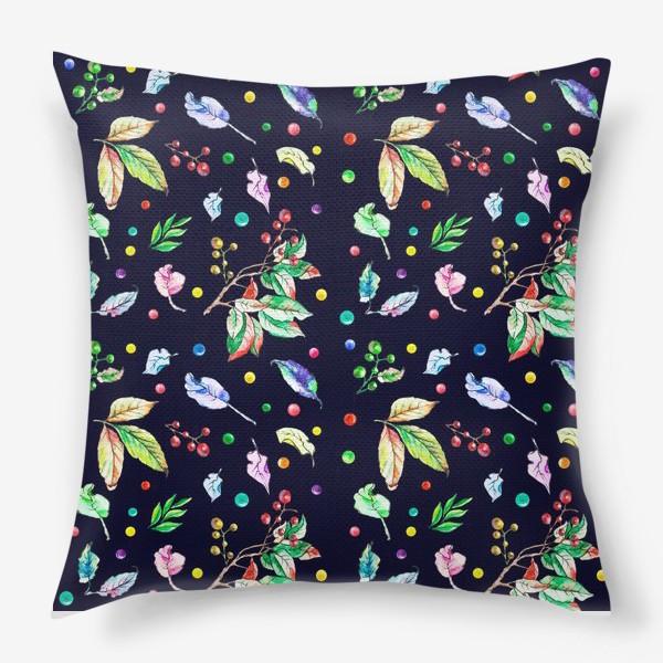 Подушка «Акварельные осенние листья 9»