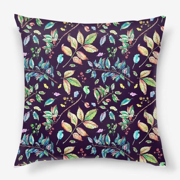 Подушка «Акварельные осенние листья 3»