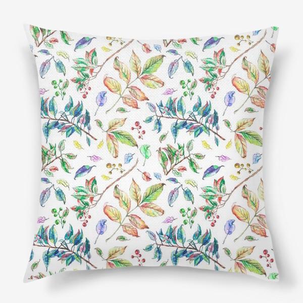 Подушка «Акварельные осенние листья 2»