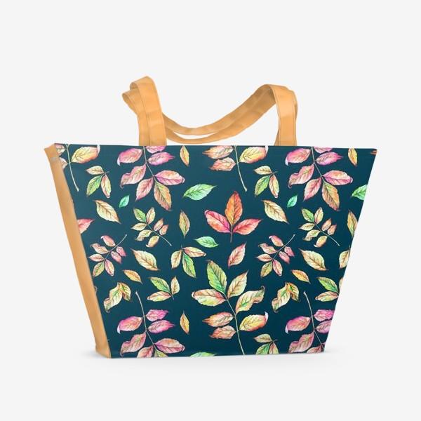 Пляжная сумка «Акварельные осенние листья 4»