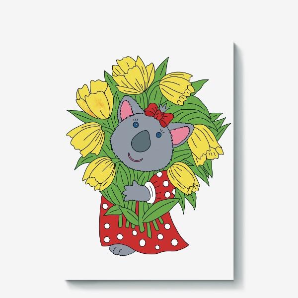 Холст «Милая коала с букетом тюльпанов»