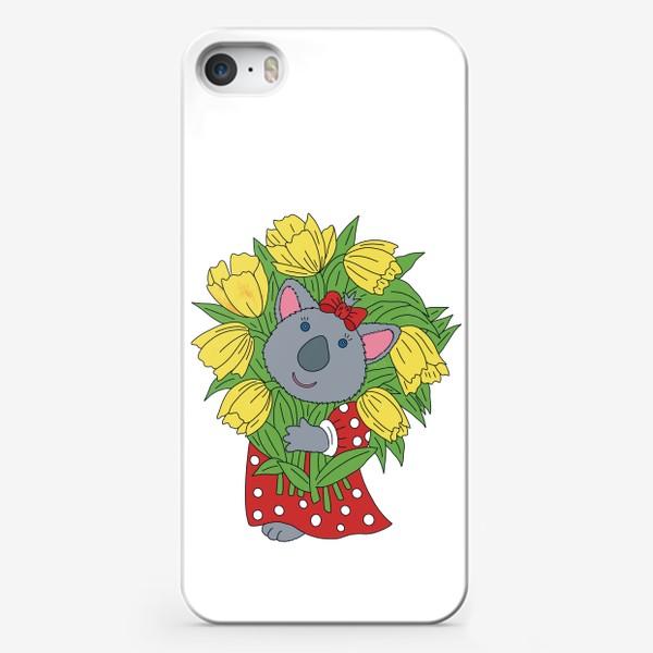 Чехол iPhone «Милая коала с букетом тюльпанов»