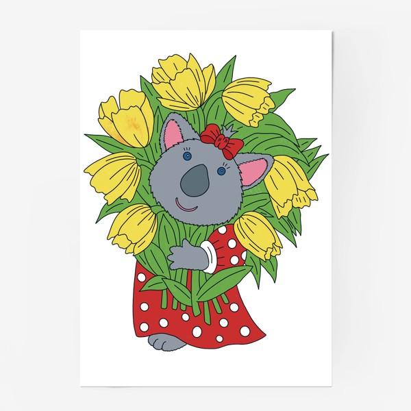 Постер «Милая коала с букетом тюльпанов»