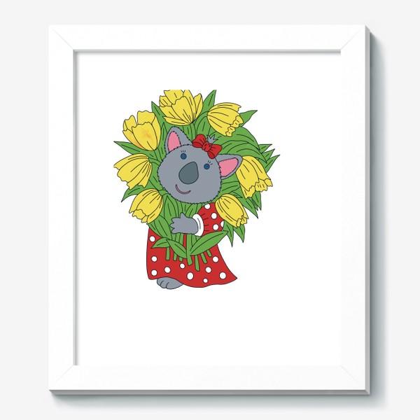 Картина «Милая коала с букетом тюльпанов»