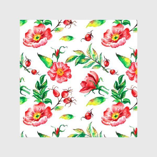 Шторы «Акварельные цветы и ягод и шиповника»