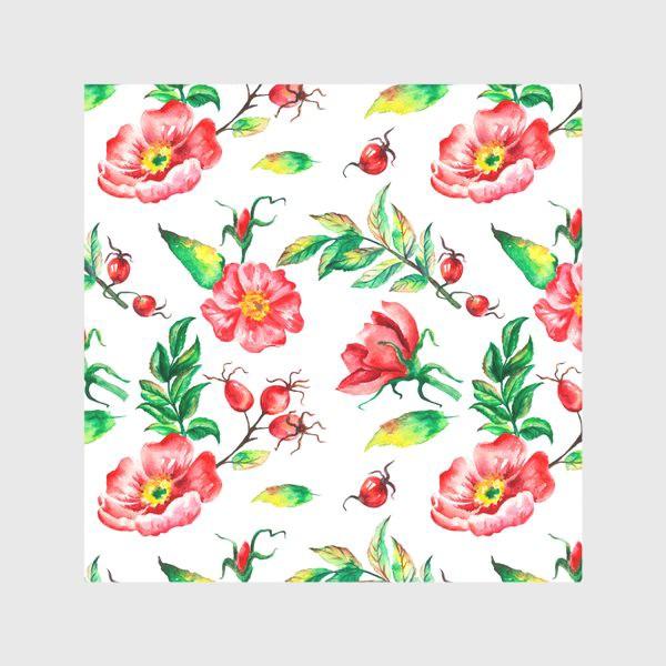 Скатерть «Акварельные цветы и ягод и шиповника»