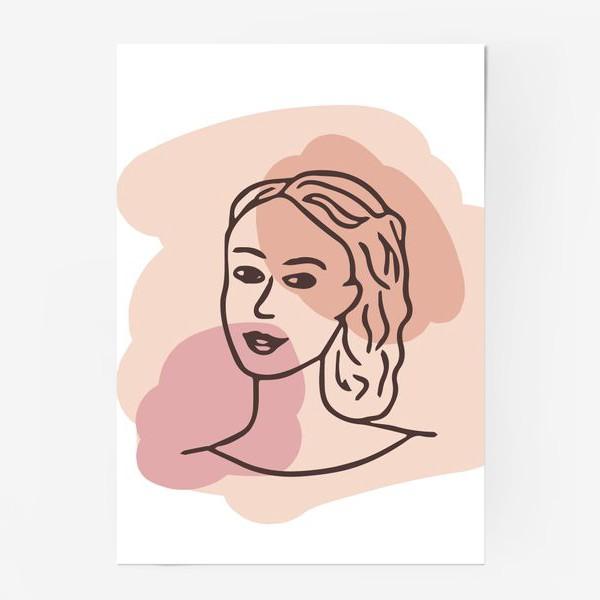 Постер «портрет молодой девушки. минимализм модерн»