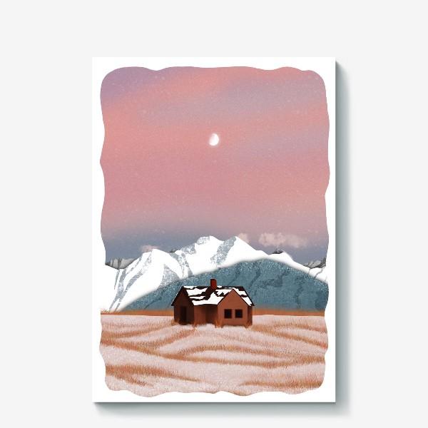 Холст «Рисунок «Домик в горах»»