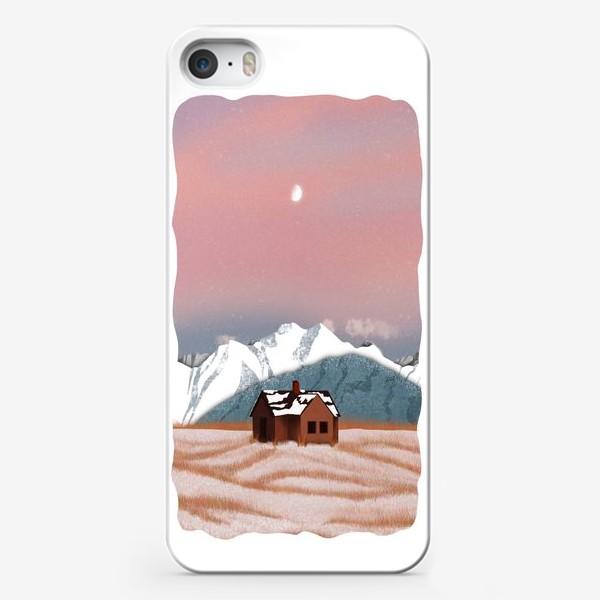 Чехол iPhone «Рисунок «Домик в горах»»