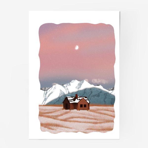 Постер «Рисунок «Домик в горах»»