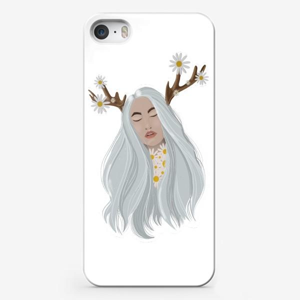 Чехол iPhone «Рисунок «Девушка с ромашками»»