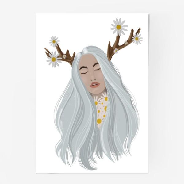 Постер «Рисунок «Девушка с ромашками»»